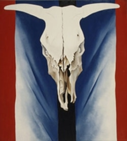 "The painting, ""Cow's Skull: Red, White, and Blue,"" by Georgia O'Keeffe from 1931"