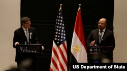 Secretary Lew and Egyptian Minister of Finance Hany Dimian deliver remarks following their meeting together. (U.S. Treasury photo)