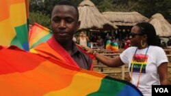 Revelers are seen at Uganda's second annual gay pride parade in Entebbe, August 3, 2013. (Hilary Heuler/for VOA)