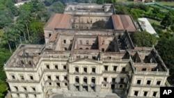 The National Museum stands gutted after an overnight fire in Rio de Janeiro, Brazil, Sept. 3, 2018.