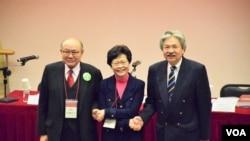 香港特首選舉三名候選人曾俊華(右起)、林鄭月娥、胡國興 (美國之音湯惠芸)