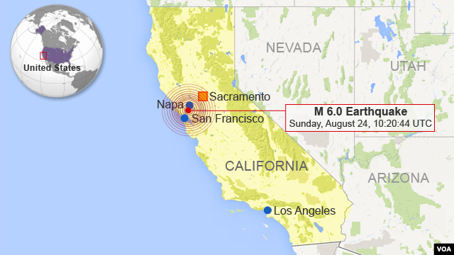 Earthquake Near Napa, California (CLICK TO ENLARGE)