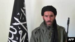 An undated photo obtained by ANI Mauritanian news agency reportedly shows al-Qaida operative Mokhtar Belmokhtar speaking at an undisclosed location.