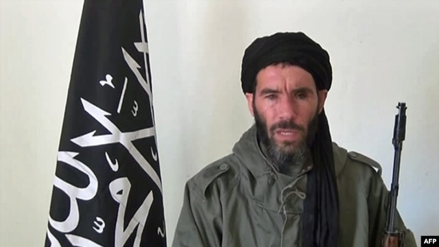 Undated photo obtained by ANI Mauritanian news agency reportedly shows former Al-Qaida in the Islamic Maghreb (AQIM) emir Mokhtar Belmokhtar speaking at an undisclosed location.