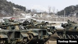 키리졸브 미한 연합훈련 일환으로 한국 강원도 철원군 육군 3사단에서 실시된 전투력 복원훈련. (자료사진)