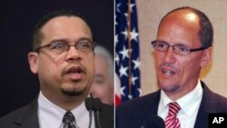 تام پرز وزیر پیشین کار (راست) و کیت الیسون نماینده مینهسوتا در مجلس نمایندگان آمریکا