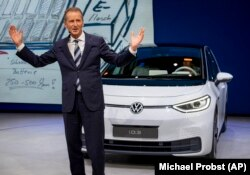 CEO of Volkswagen Herbert Diess introduces the new VW ID.3 at the IAA Auto Show in Frankfurt, Germany, Monday, September 9, 2019.