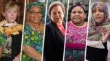 از راست: توکل کرمان، ریگوبرتا منچو، شیرین عبادی، لیما گبوی و جودی ویلیامز برندگان صلح نوبل