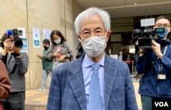 民主党创党主席李柱铭因8-18流水式集会案被判监禁11个月,缓刑两年。 (美国之音/汤惠芸)