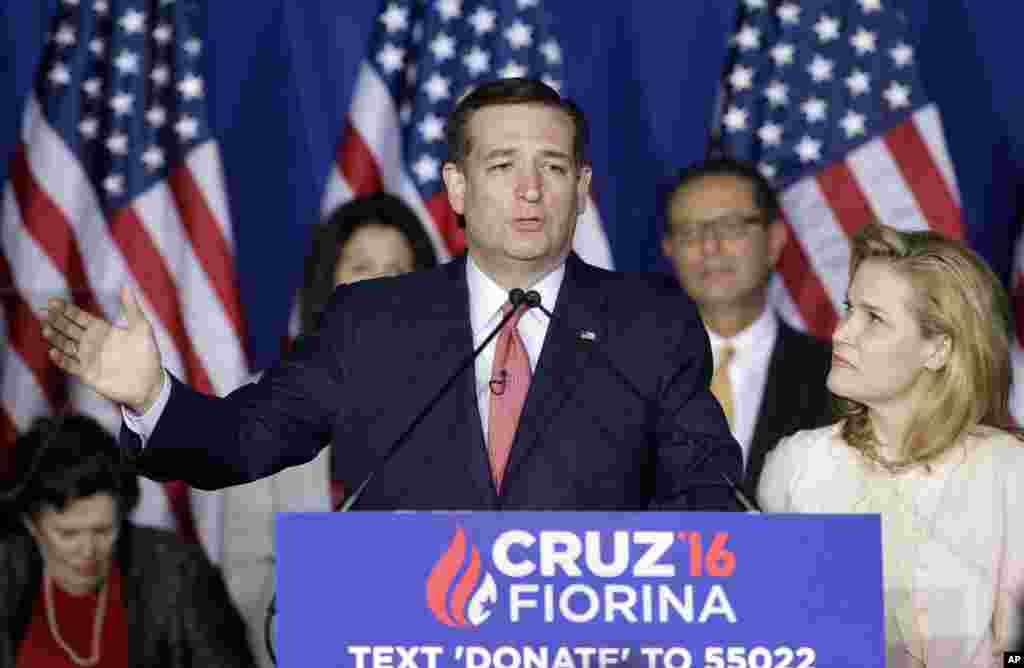 Republican presidential candidate Ted Cruz, accompanied by his wife, Heidi, officially suspends his White House bid in Indianapolis, after suffering defeat in the Indiana GOP primary, May 3, 2016.
