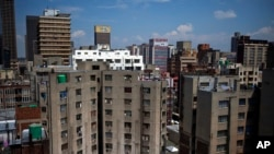 These buildings are in the Central Business District of Johannesburg.
