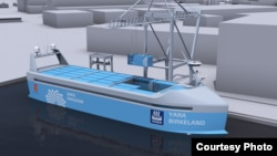 """Shown is the """"YARA Birkeland"""" vessel, which will be the world's first fully electric and autonomous container ship, with zero emissions. (Yara International)"""