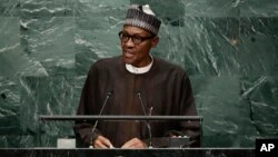 Nigerian President Muhammadu Buhari speaks during the 71st session of the United Nations General Assembly, Sept. 20, 2016, at U.N. headquarters.