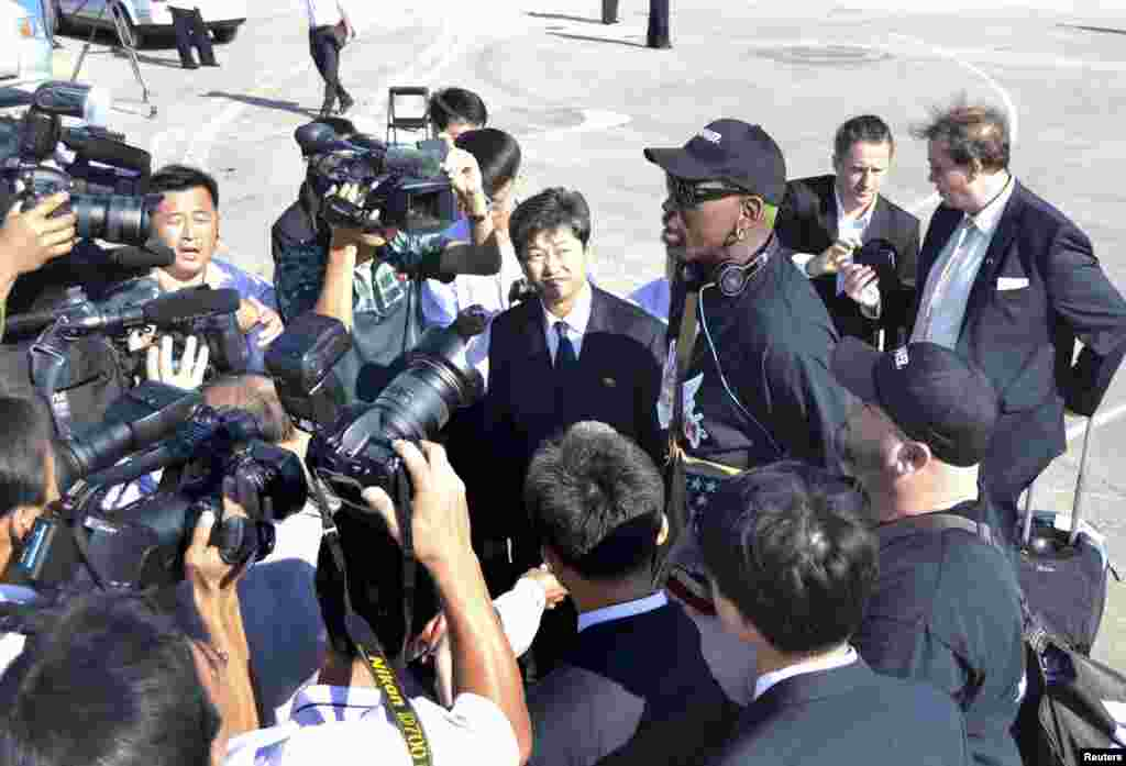 Dennis Rodman arrived in North Korea Sept. 3, 2013 for a five-day visit, his second this year, but said he had no plans to negotiate the release of a jailed American missionary.