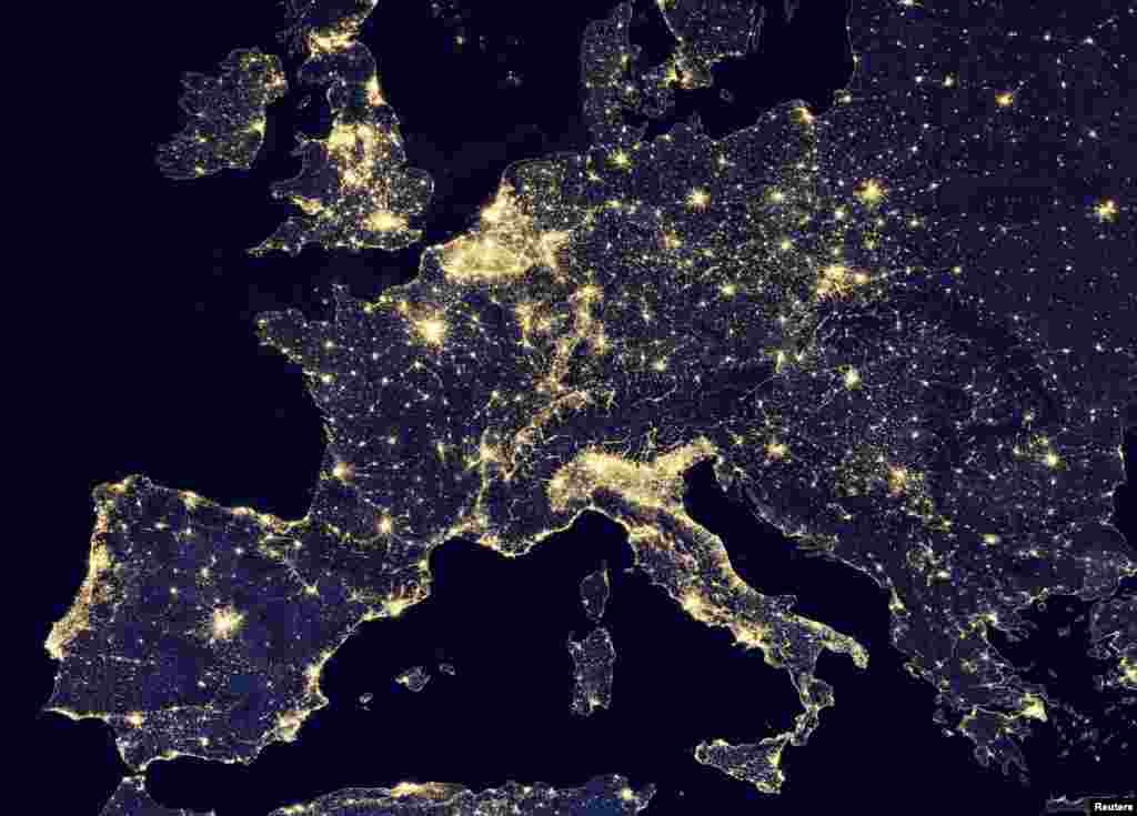 A nighttime view of Europe made possible by the day-night band of the Visible Infrared Imaging Radiometer Suite (VIIRS) is seen in a global composite assembled from data acquired by the Suomi National Polar-orbiting Partnership (Suomi NPP) satellite in this photo released by NASA.