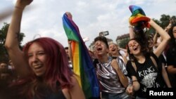 FILE - Revellers cheer during the annual Sofia Pride parade in Sofia, Bulgaria, June 9, 2018.