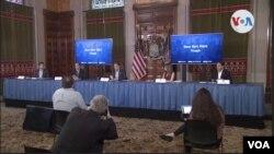 El gobernador de Nueva York, Andrew Cuomo, reporta al público en conferencia de prensa sobre los desarrollos en la lucha contra la pandemia del coronavirus. Captura de pantalla, abril 5 de 2020.