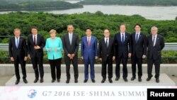 Các nhà lãnh đạo thế giới chụp ảnh lưu niệm trong ngày đầu tiên của cuộc họp của khối G7 ở Ise Shima, Nhật Bản, ngày 26/5/2016.