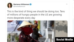 Nhà văn Mirianne Williamson viết trên Twitter 14/04 về máy ATM gạo Việt Nam.