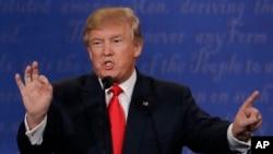 共和黨總統候選人川普10月19日在最後一場美國總統競選競選辯論上。