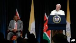 教宗在肯尼亞總統官邸發表演說