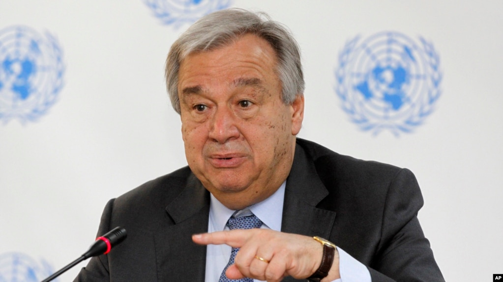 U.N. Secretary-General Antonio Guterres speaks during a news conference in Nairobi, Kenya, March 8, 2017. The risk of genocide has considerably diminished in South Sudan, which is experiencing civil strife that has led to famine in some parts, Guterres said.