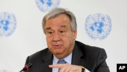 FILE - U.N. Secretary-General Antonio Guterres speaks during a news conference in Nairobi, Kenya, March 8, 2017.