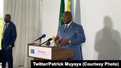 Président Félix Tshisekedi na rotonde ya palais de la nation na Kinshasa, RDC, 29 mai 2021. (Twitter/Patrick Muyaya)