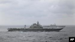 2017年馬拉巴爾軍演的印度與日本軍艦(資料照片)