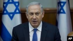 PM Israel Benjamin Netanyahu memimpin rapat kabinet di Yerusalem hari Minggu (24/1).