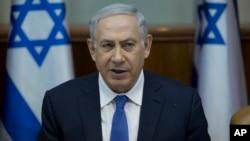 Israel's Prime Minister Benjamin Netanyahu, heads the weekly cabinet meeting, in Jerusalem, Jan. 24, 2016.