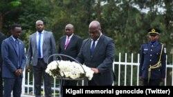 Félix Tshisekedi devant le mémorial du génocide en marge d'une visite au Rwanda, le 25 mars 2019. (Twitter/Kigali memorial genocide)