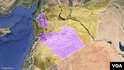 시리아 이들리브와 홈스 주(보라색 지역).