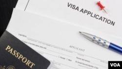 Yon aplikasyon pou viza ameriken.