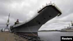 俄羅斯為印度改裝的戈爾什科夫海軍上將號航空母艦 (資料照片)