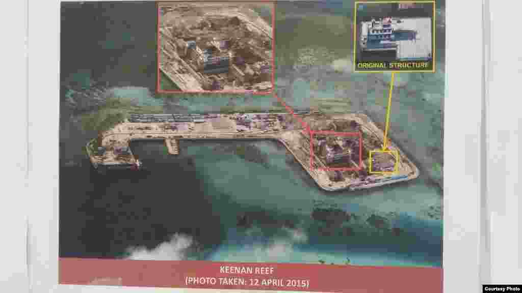 Philippine military's images of China's reclamation in the Spratlys, Keenan Reef, April 12, 2015. (Armed Forces of the Philippines)