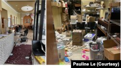 Khu vực cửa ra vào và nhà kho trong tiệm làm móng Happy Nails Brows & Lashes Bar của chị Pauline Lê ở Chicago sau khi bị một số người hôi của đột nhập và cướp bóc.