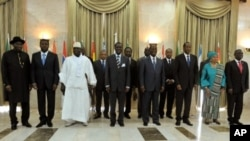 West African leaders pose for a family picture on May 3, 2012 in Dakar before a meeting on the crises in neighboring Mali and Guinea-Bissau, which have both suffered recent coups.