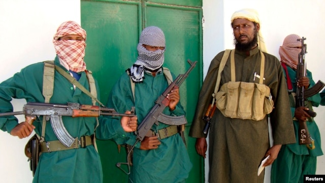 FILE - Spokesman of Islamist militant group al-Shabab vows to step up attacks against government soldiers, foreign troops, in Mogadishu, 2008.