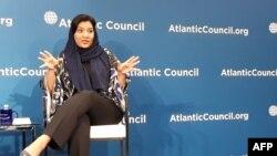 سعودی سپورٹس اتھارٹی کی نائب سربراہ شہزادی ریما اٹلانٹک کونسل میں بولتے ہوئے۔ 28 فروری 2018
