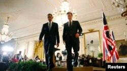 Predsednik Barak Obama i britanski premijer Dejvid Kameron nakon konferencije za novinare u Beloj kući