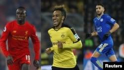 L'Algérien Riyad Mahrez (Leicester), le Sénégalais Sadio Mane (Liverpool) et le tenant du titre gabonais Pierre-Emerick Aubameyang (Dortmund).