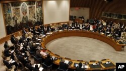 """目前擔任聯合國安理會主席的英國駐聯合國大使格蘭特3 月21日在聯合國總部宣讀安理會通過的""""主席聲明"""""""