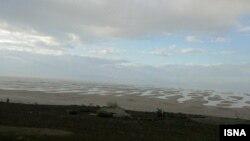 نمایی از دریاچه ارومیه در پاییز امسال پس از بارندگی