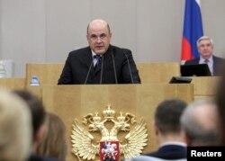 俄罗斯总统普京任命的俄罗斯总理人选米哈伊尔·米舒斯金在国家杜马讲话。(2020年1月16日)