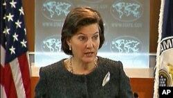 9일 미 국무부 정례브리핑에서 대북정책에 대해 설명하는 빅토리아 눌런드 대변인