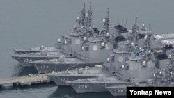 일본 나가사키현 해상 자위대 사세보 기지에 정박해 있는 이지스함. (자료사진)