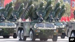 Tên lửa của Trung Quốc trong một cuộc diễu hành quân sự ở Bắc Kinh.