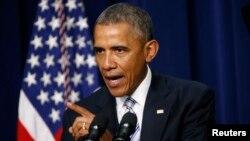 """Le président américain, Barack Obama au cours d'une adresse lors du sommet sommet pour """"contrer la violence extrémiste"""" à la Maison Blanche, à Washington, le 18 février 2016."""
