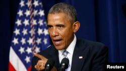 U.S. President Barack Obama addresses the White House Summit on Countering Violent Extremism in Washington